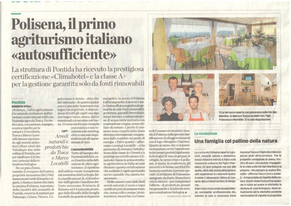 Polisena sull'Eco di Bergamo